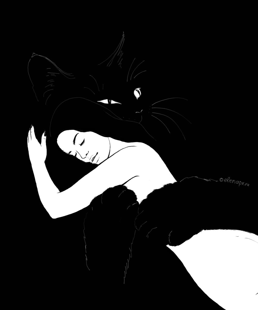 Black&white: девушка и кошка