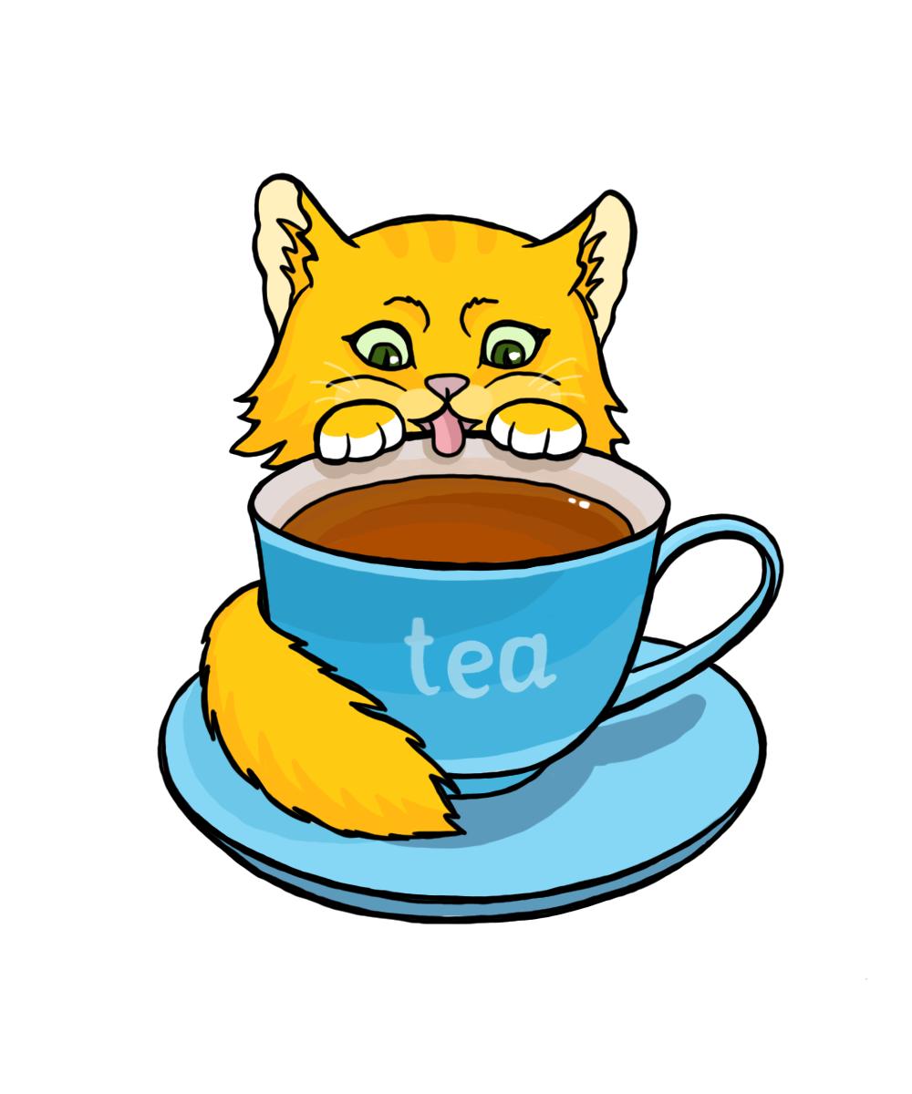 стикер для telegram с чашкой чая и котиком